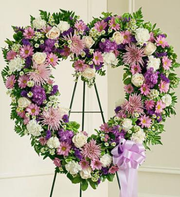 Always Remember Lavender Floral Heart Tribute