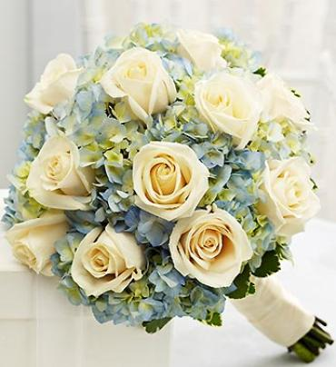 Blue and White Bridesmaid Bouquet