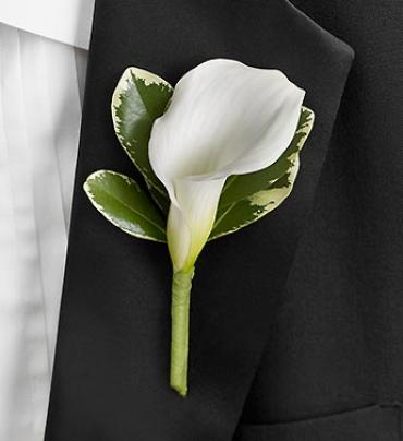 All White Calla Lily Boutonniere