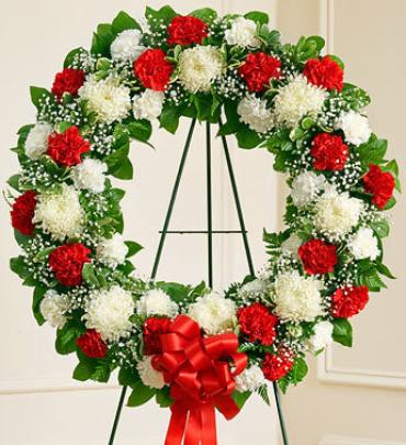 Serene Blessings Standing Wreath - Red & White